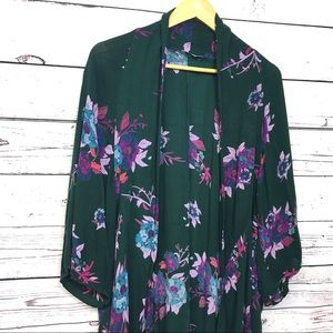 Patrons of Peace | green floral kimono | small/med